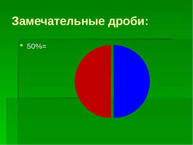 Замечательные дроби: 50%=