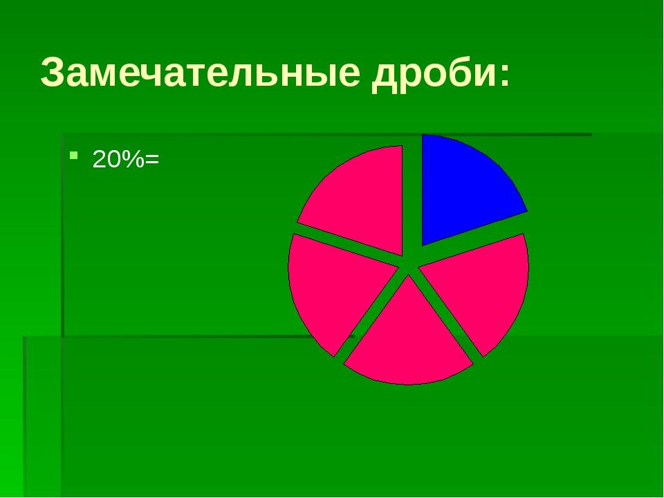 """Замечательные дроби: 20%= """"Образовательный портал Мой университет-www.moi-uni..."""