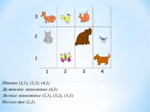 Птицы (1,2), (2,3), (4,2) Домашние животные (4,1) Лесные животные (1,3), (3,2