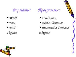 Форматы: Программы: WMF EPS DXF и другие Corel Draw Adobe Illustrator Macrome
