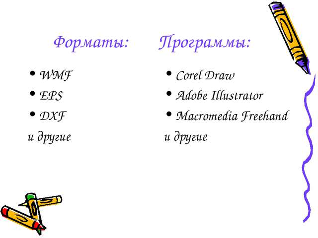 Форматы: Программы: WMF EPS DXF и другие Corel Draw Adobe Illustrator Macrome...