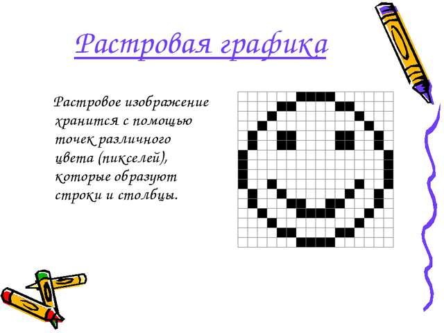 Растровая графика Растровое изображение хранится с помощью точек различного ц...