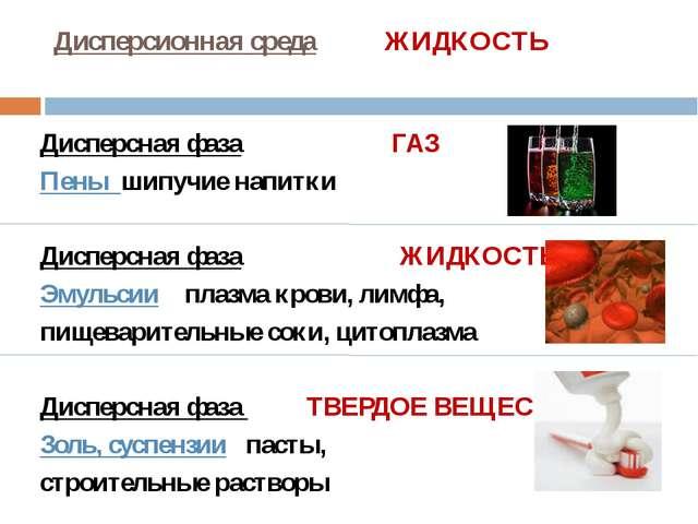 Дисперсионная среда ЖИДКОСТЬ Дисперсная фаза ГАЗ Пены шипучие напитки Дисперс...