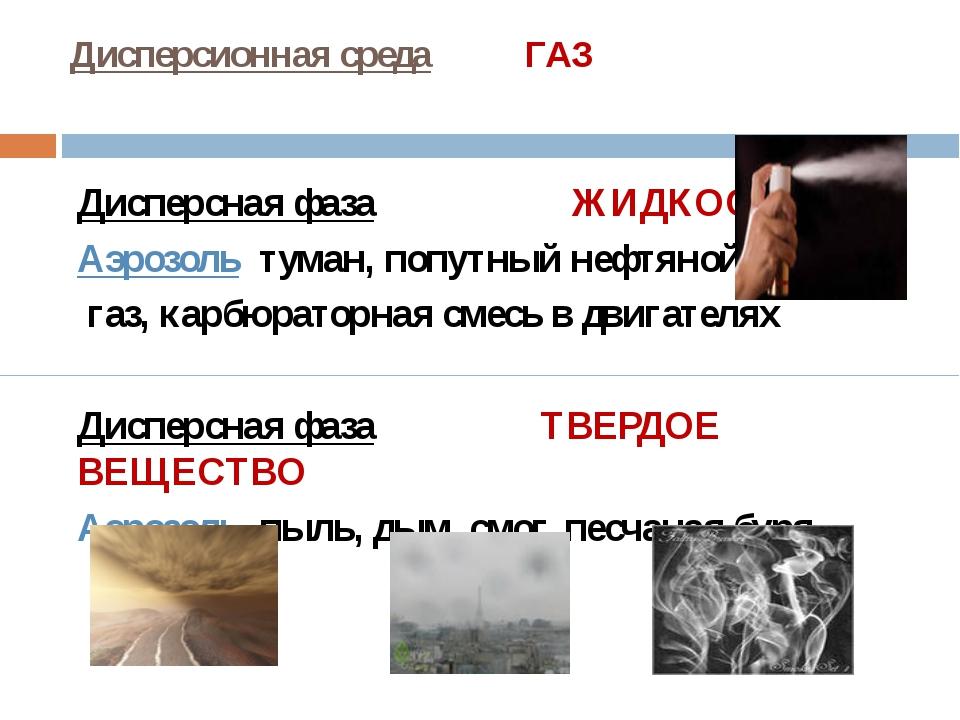 Дисперсионная среда ГАЗ Дисперсная фаза ЖИДКОСТЬ Аэрозоль туман, попутный неф...