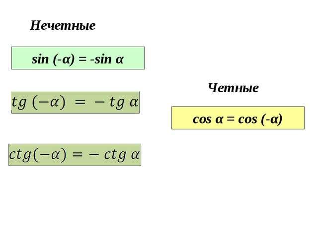 sin (-α) = -sin α Нечетные cos α = cos (-α) Четные