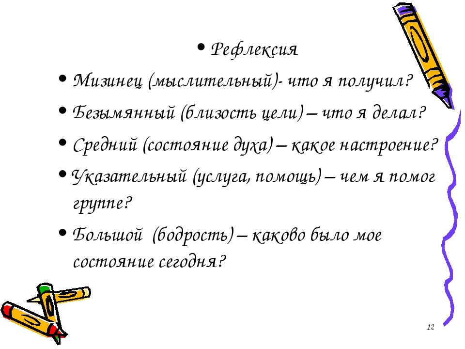 Рефлексия Мизинец (мыслительный)- что я получил? Безымянный (близость цели) –...