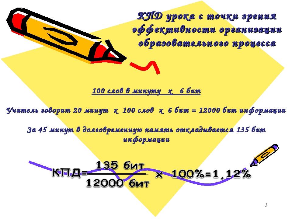 * КПД урока с точки зрения эффективности организации образовательного процесс...