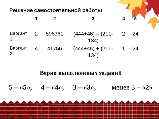 Верно выполненных заданий 5 – «5», 4 – «4», 3 – «3», менее 3 – «2» Решение с...