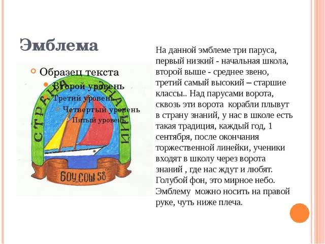 Эмблема На данной эмблеме три паруса, первый низкий - начальная школа, второй...