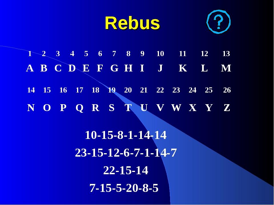 Rebus 10-15-8-1-14-14 23-15-12-6-7-1-14-7 22-15-14 7-15-5-20-8-5 123456...