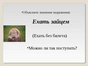 Объясните значение выражения: Ехать зайцем (Ехать без билета) Можно ли так по
