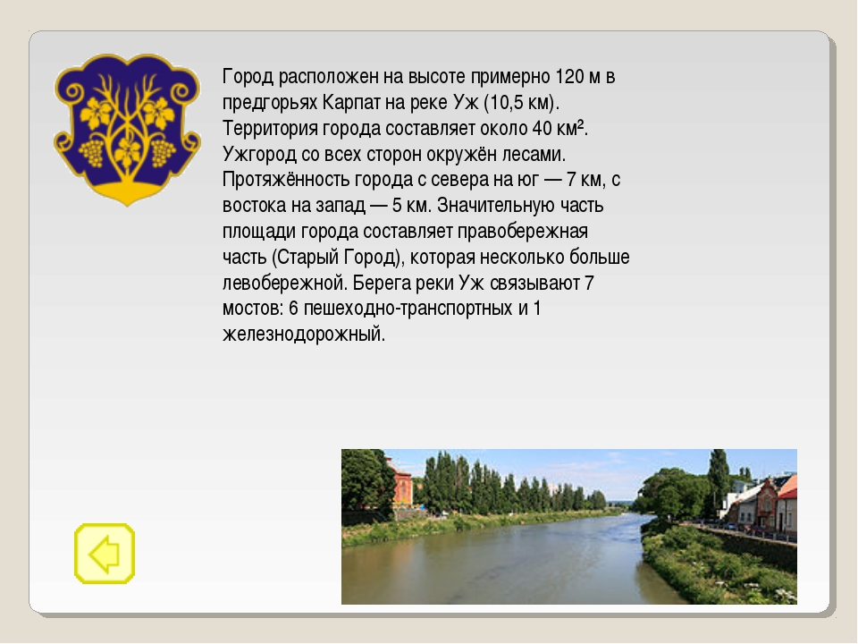 Город расположен на высоте примерно 120 м в предгорьях Карпат на реке Уж (10,...