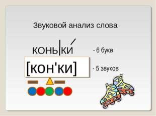 Звуковой анализ слова КОНЬ КИ [кон'ки] - 6 букв - 5 звуков