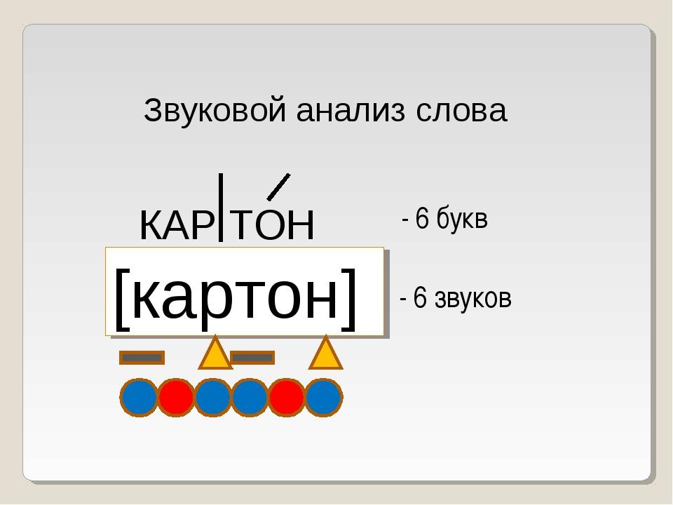 Звуковой анализ слова КАР ТОН [картон] - 6 букв - 6 звуков