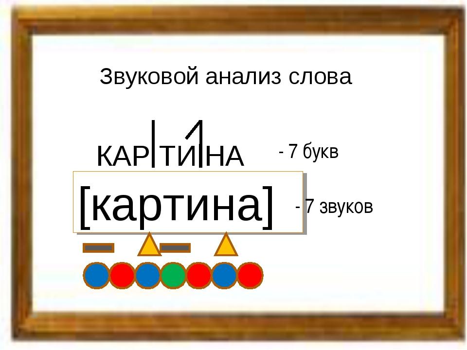 Звуковой анализ слова КАР ТИ НА [картина] - 7 букв - 7 звуков