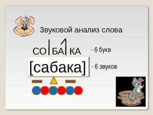 Звуковой анализ слова СО БА КА [сабака] - 6 букв - 6 звуков