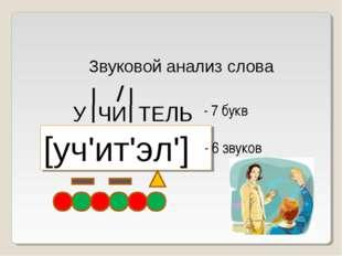 Звуковой анализ слова У ЧИ ТЕЛЬ [уч'ит'эл'] - 7 букв - 6 звуков