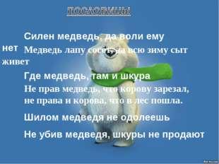 Силен медведь, да воли ему нет Медведь лапу сосет, да всю зиму сыт живет Г