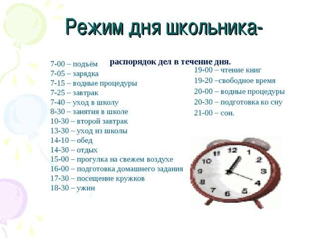 Режим дня школьника- 19-00 – чтение книг 19-20 –свободное время 20-00 – водн...