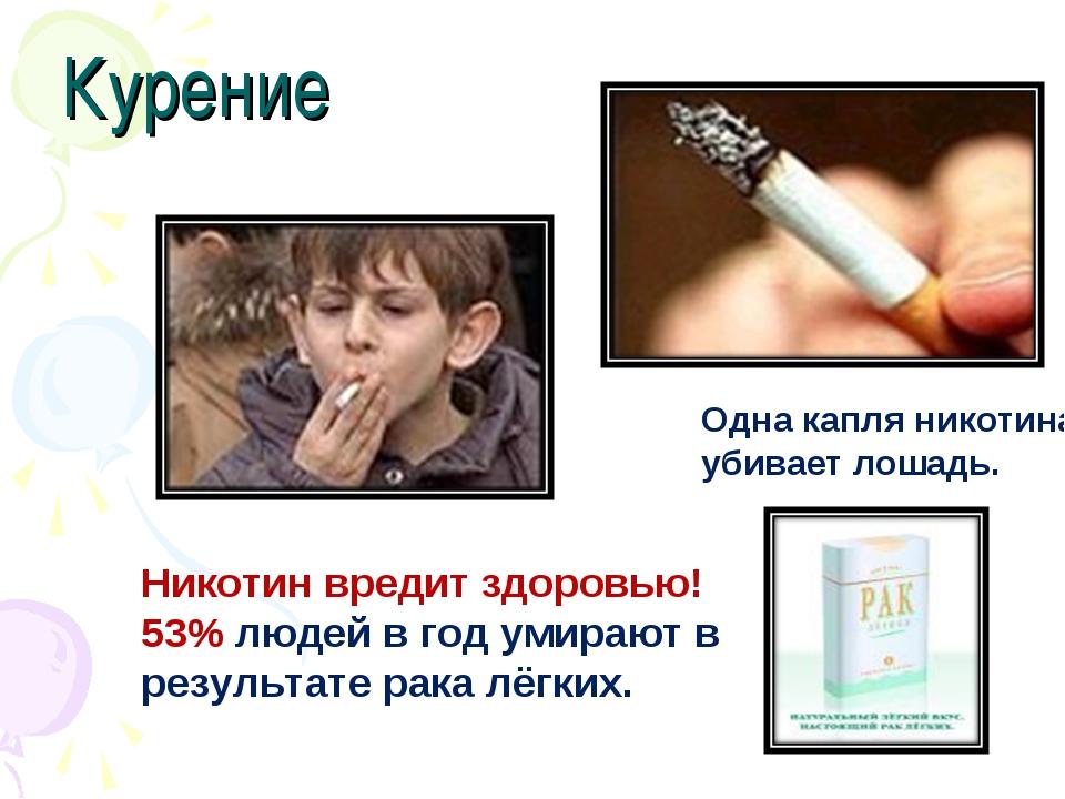 Курение Одна капля никотина убивает лошадь. Никотин вредит здоровью! 53% люде...