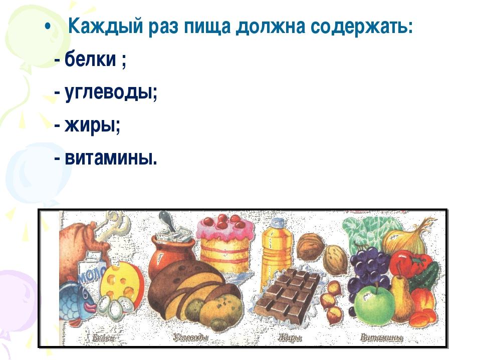 Каждый раз пища должна содержать: - белки ; - углеводы; - жиры; - витамины.