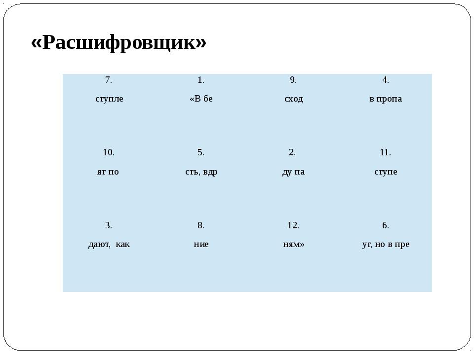 «Расшифровщик» 7. ступле 1. «В бе 9. сход 4. в пропа 10. ятпо 5. сть, вдр 2....