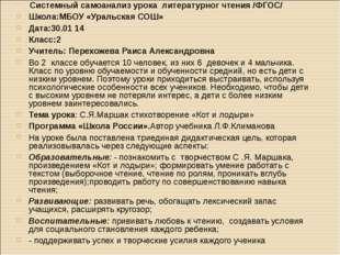 Системный самоанализ урока литературног чтения /ФГОС/ Школа:МБОУ «Уральская