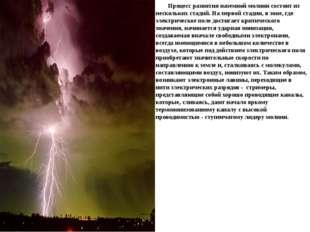Процесс развития наземной молнии состоит из нескольких стадий. На первой ста