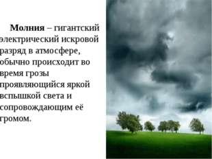 Молния – гигантский электрический искровой разряд в атмосфере, обычно происх