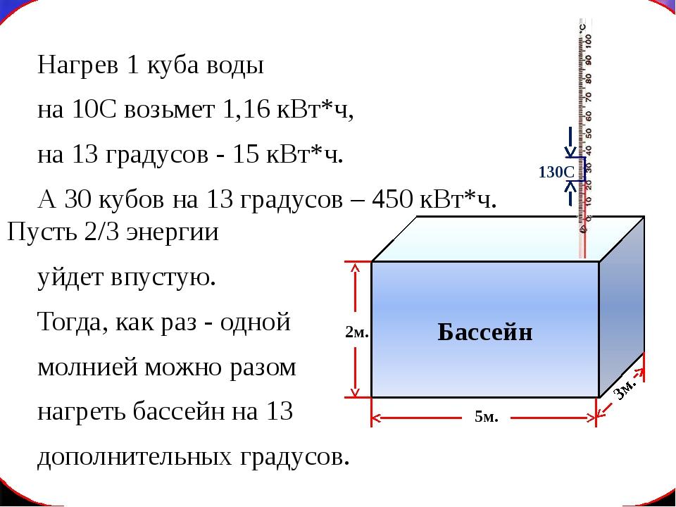 Нагрев 1 куба воды на 10С возьмет 1,16 кВт*ч, на 13 градусов - 15 кВт*ч....