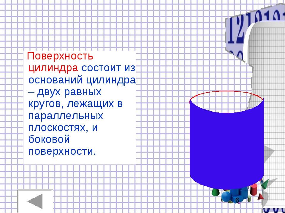Поверхность цилиндра состоит из оснований цилиндра – двух равных кругов, леж...
