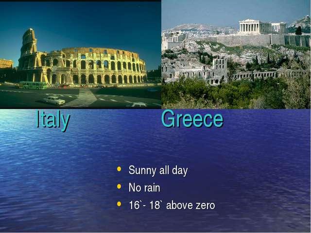 Italy Italy Greece Sunny all day No rain 16`- 18` above zero