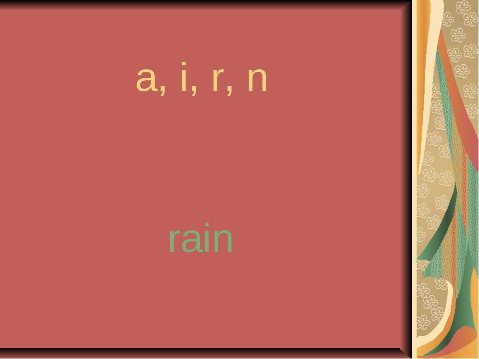 a, i, r, n rain