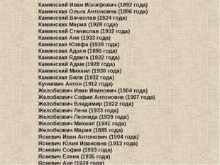 Каминский Иван Иосифович (1892года) Каминская Ольга Антоновна (1896года) Ка