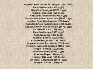 Карабан Константин Устинович (1897года) Карабан Мария (1900года) Карабан Ле