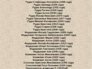 Рудак Стефанида Антоновна (1898года) Рудак Зинаида (1925года) Рудак Алексан