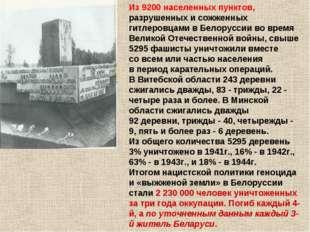 Из9200населенных пунктов, разрушенных исожженных гитлеровцами вБелоруссии