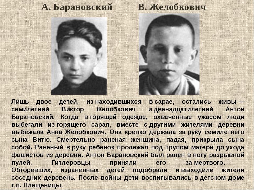 Лишь двое детей, изнаходившихся всарае, остались живы— семилетний Виктор Ж...