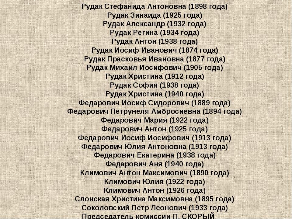 Рудак Стефанида Антоновна (1898года) Рудак Зинаида (1925года) Рудак Алексан...