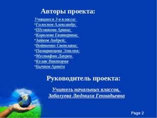 Авторы проекта: Учащиеся 3-в класса: Голосков Александр; Шумакова Арина; Коро