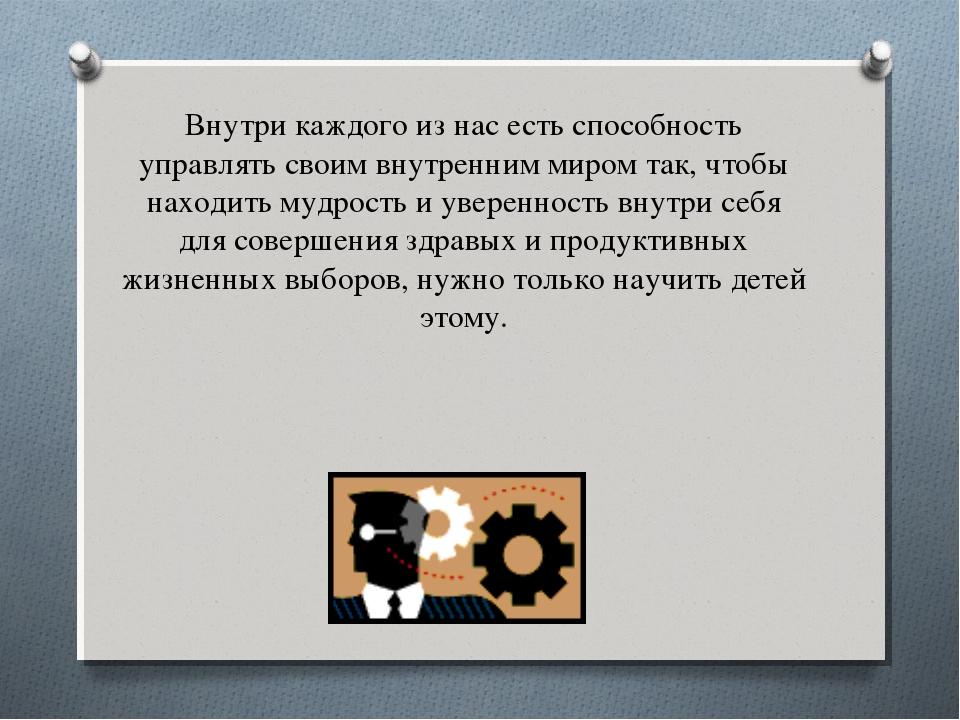 Внутри каждого из нас есть способность управлять своим внутренним миром так,...