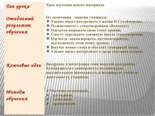Типурока Урок изучения нового материала Ожидаемыйрезультатобучения Поокончани