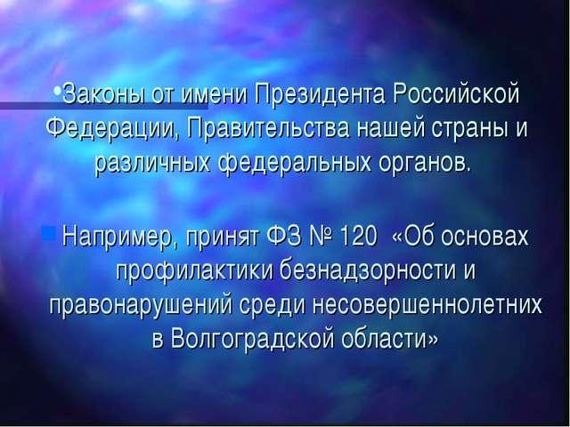 Законы от имени Президента Российской Федерации, Правительства нашей страны и...
