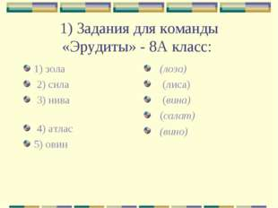 1) Задания для команды «Эрудиты» - 8А класс: 1) зола 2) сила 3) нива 4) атлас