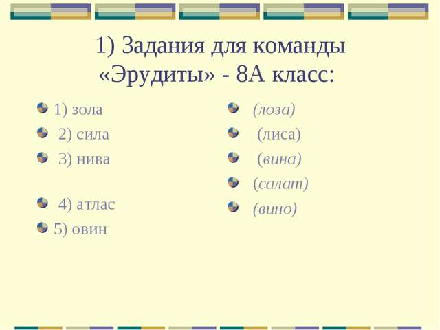 1) Задания для команды «Эрудиты» - 8А класс: 1) зола 2) сила 3) нива 4) атлас...