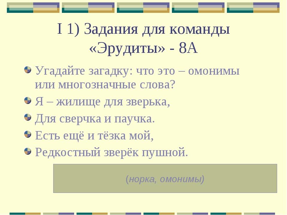 I 1) Задания для команды «Эрудиты» - 8А Угадайте загадку: что это – омонимы и...