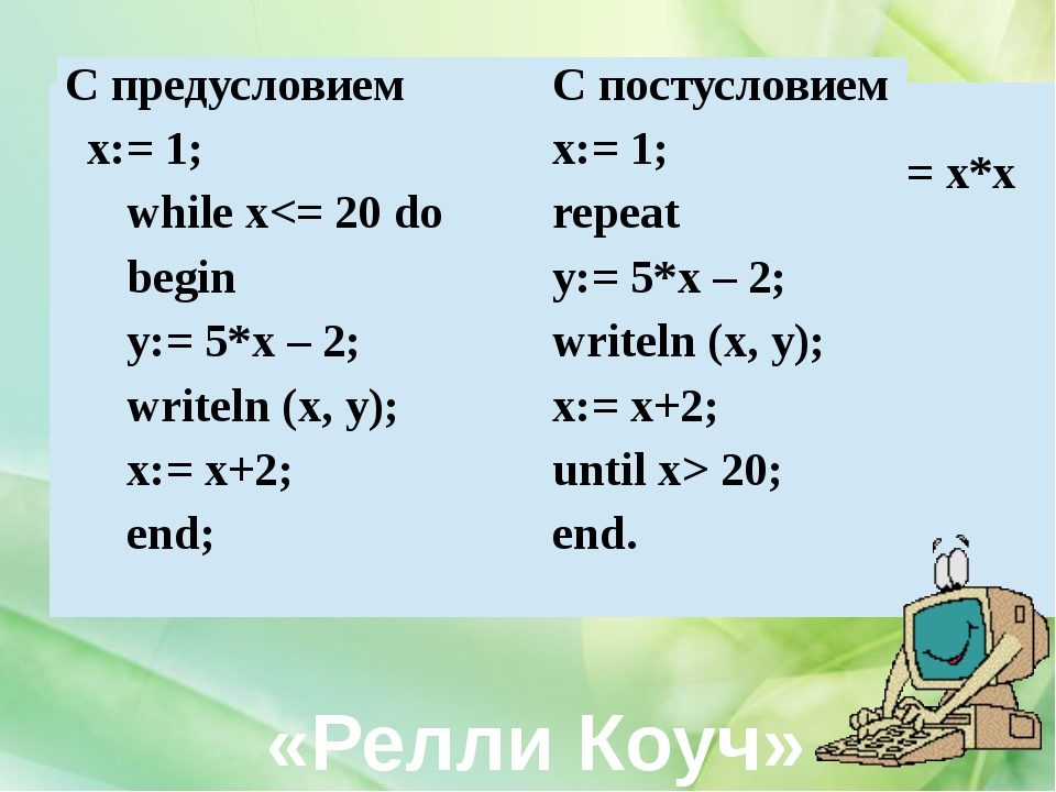 «Релли Коуч» С предусловием x:=-4; while x
