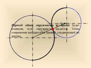 0 Переход одной окружности к другой будет плавным, если окружности касаются.