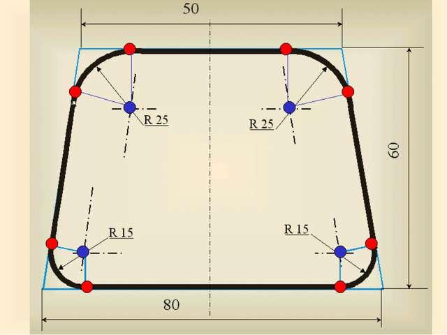 R 25 R 25 R 15 R 15 80 50 60 А теперь для закрепления материала выполним прак...