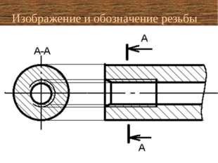 Изображение и обозначение резьбы на стержне на шпильке в отверстии (без разре
